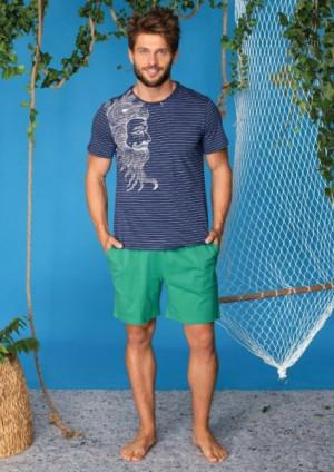 Key MNS 793 A20 Pánské pyžamo XXL tmavě modrá-zelená