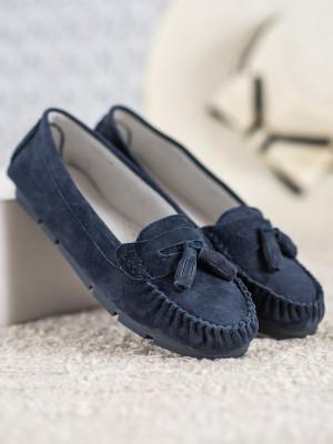 Praktické dámské  mokasíny modré bez podpatku