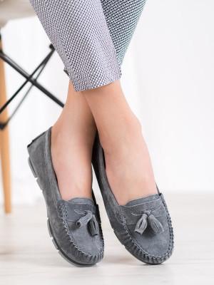 Originální  mokasíny šedo-stříbrné dámské bez podpatku