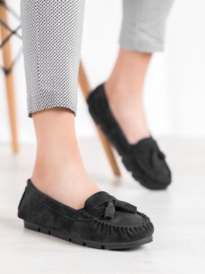 Trendy dámské  mokasíny černé bez podpatku