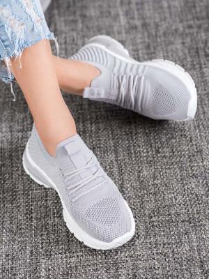 Originální šedo-stříbrné  tenisky dámské bez podpatku