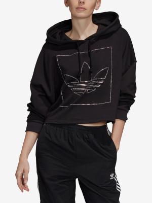 Mikina adidas Originals Crop Hoodie Černá