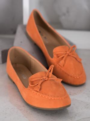 Exkluzívní dámské  mokasíny oranžové bez podpatku