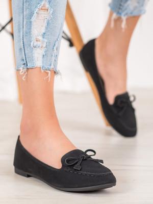 Pohodlné dámské černé  mokasíny bez podpatku