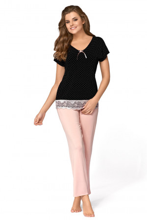 Pyžamo IRIS černá/pudrově růžová