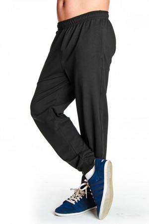 Dlouhé pánské kalhoty se stahovacím lemem 0162 tmavě šedá-žíhaná