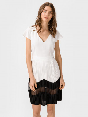 Šaty Trussardi Dress Goemetric Plisse' Bílá