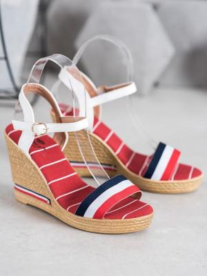 Designové dámské vícebarevné  sandály na klínku