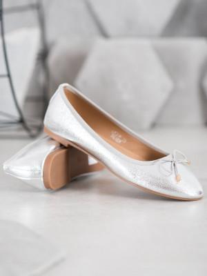 Jedinečné dámské  baleríny šedo-stříbrné bez podpatku