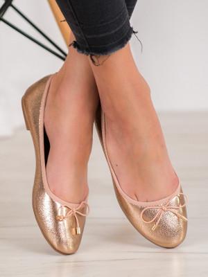 Pěkné  baleríny zlaté dámské bez podpatku