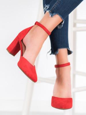 Módní dámské  lodičky červené na širokém podpatku