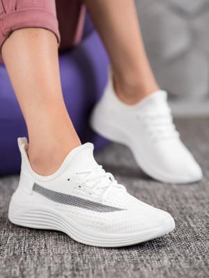 Komfortní dámské bílé  tenisky bez podpatku