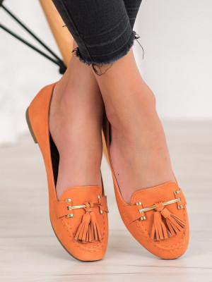 Originální dámské  mokasíny oranžové bez podpatku