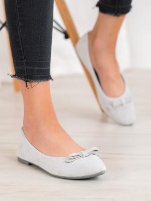 Pěkné dámské šedo-stříbrné  baleríny bez podpatku