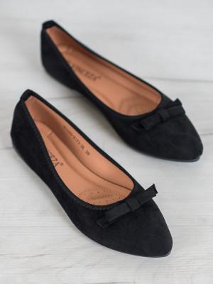 Módní dámské  baleríny černé bez podpatku