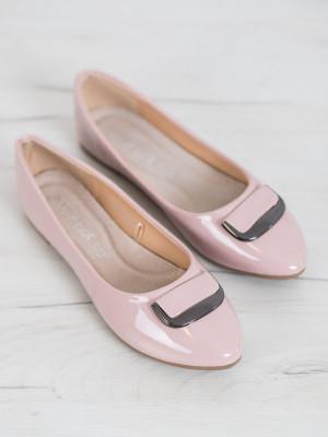 Designové dámské růžové  baleríny bez podpatku