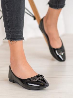 Designové černé  baleríny dámské bez podpatku