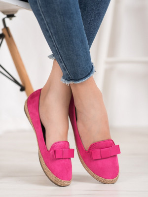 Klasické růžové  baleríny dámské bez podpatku
