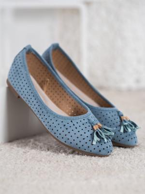 Klasické modré  baleríny dámské bez podpatku
