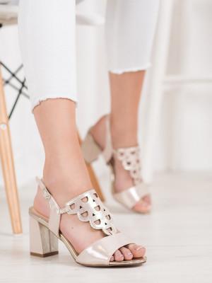 Exkluzívní černé  sandály dámské na širokém podpatku