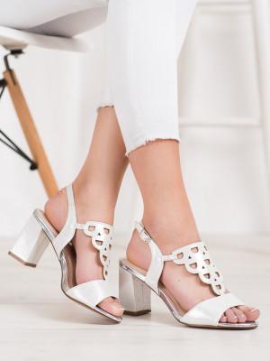 Originální šedo-stříbrné  sandály dámské na širokém podpatku
