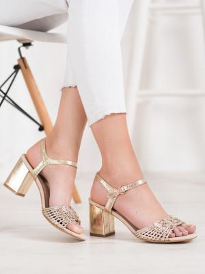 Luxusní zlaté dámské  sandály na širokém podpatku