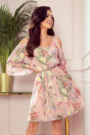 MARINA - Vzdušné dámské šifónové šaty v růžové barvě s květinovým vzorem a dekoltem 292-1