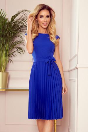 LILA - Plisované dámské šaty v chrpové barvě s krátkými rukávy 311-2