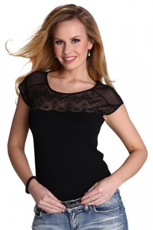 Dámské triko Marita černé s krajkou