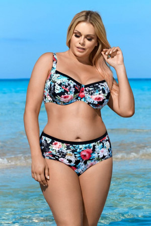 Dvoudílné plavky bez výztuže Aubrey černé s květy