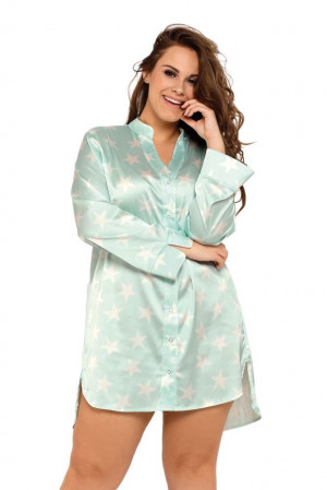Saténová noční košile Alicia mint s hvězdami