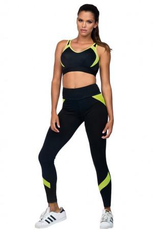 Fitness legíny Suzanne černé žlutý neon