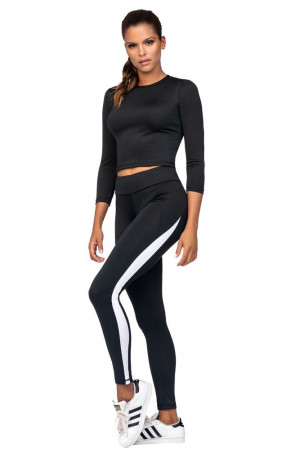 Fitness legíny Arden černé bílý pruh