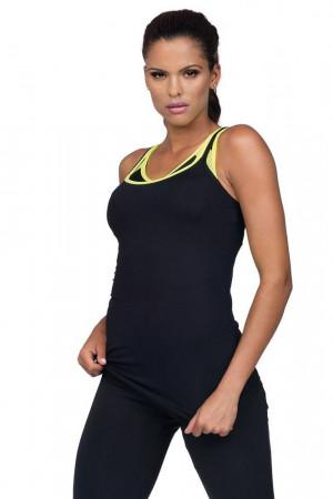 Fitness top  Aida černý s neonovými prvky