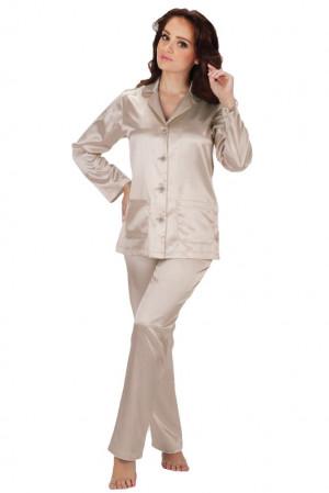 Dámské béžové saténové pyžamo Classic dlouhé