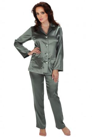 Dámské saténové pyžamo Classic dlouhé šedé