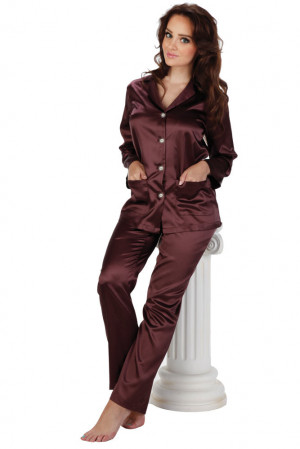 Dámské plum saténové pyžamo Classic dlouhé