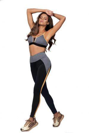 Fitness legíny Jess oranžový pruh černá