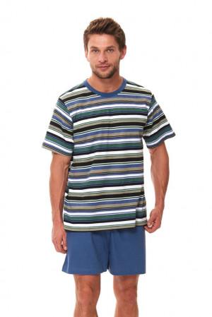 Pánské krátké pyžamo Viktor s pruhy modrá