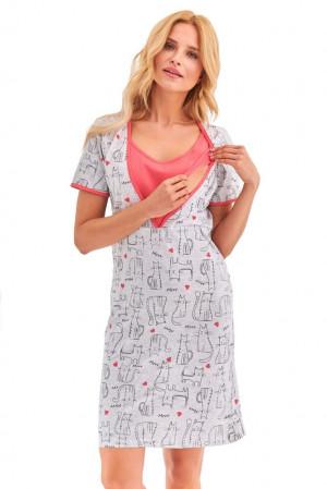 Mateřská noční košile Linda šedá kočičky šedá