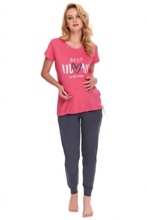 Kojicí a těhotenské pyžamo Best mom růžové růžová