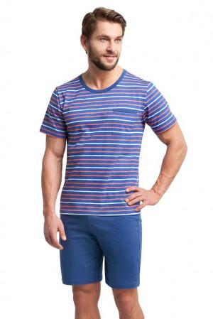 Pánské pyžamo Luke oranžové proužky modrá