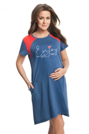 Těhotenská a kojicí noční košile Andrea modrá modrá