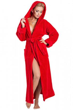 Dlouhý huňatý župan Diana červený s kapucí