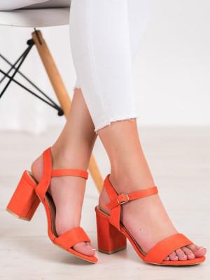 Komfortní dámské oranžové  sandály na širokém podpatku