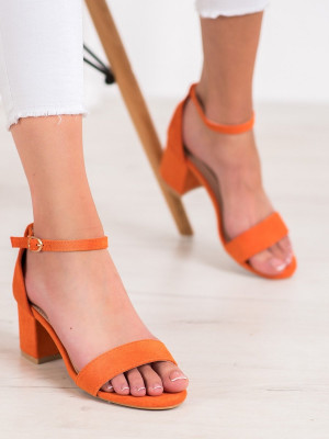Trendy dámské oranžové  sandály na širokém podpatku