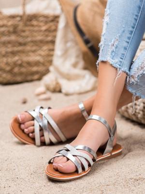 Designové šedo-stříbrné  sandály dámské bez podpatku