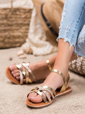 Jedinečné dámské zlaté  sandály bez podpatku