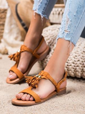 Klasické dámské  sandály hnědé bez podpatku