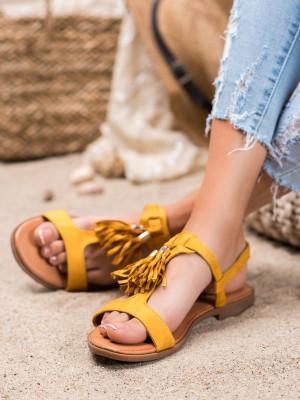 Komfortní dámské  sandály zlaté bez podpatku